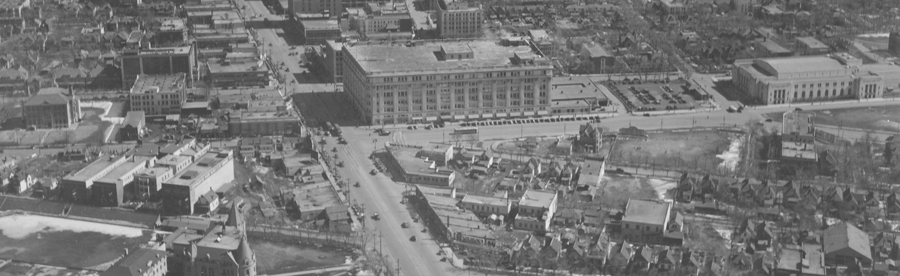 Aerial View of Winnipeg Looking East on Portage Avenue Towards Main Street, 1935