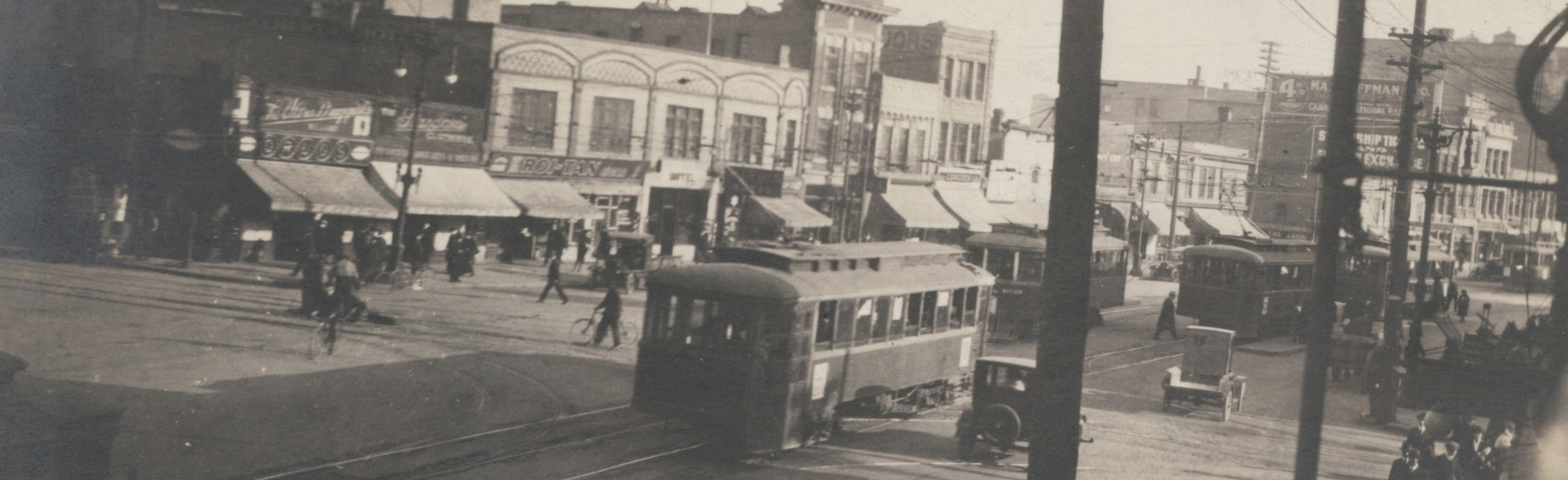 View of Main Street south from Higgins showing Alberta Hotel, [1940s?]