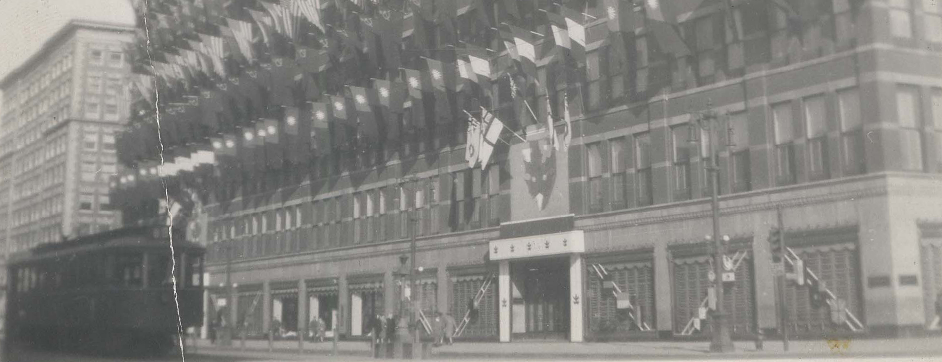 Eaton's department store on Portage Avenue adorned with Allied flags to celebrate Victory in Europe