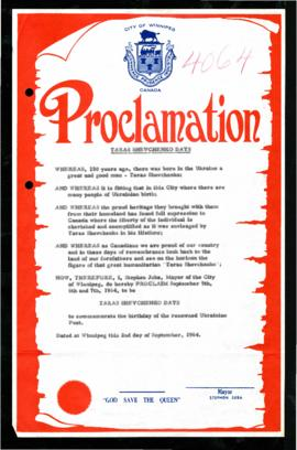 Proclamation - Taras Shevchenko Days