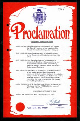 Proclamation - Canadian Authors' Week