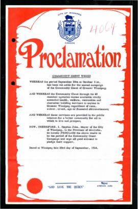 Proclamation - Community Chest Weeks