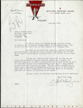 Letter from Winnipeg Maroons to Alderman C. Rhodes Smith