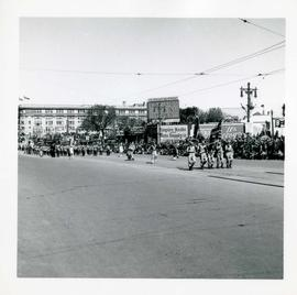 Winnipeg's 75th Anniversary parade - marching band and military men