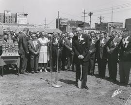 Mayor Stephen Juba with shovel in hand at Groundbreaking Ceremony, June 12, 1962