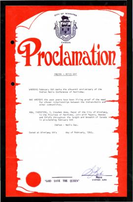 Proclamation - Indian-Metis Day [see General note]