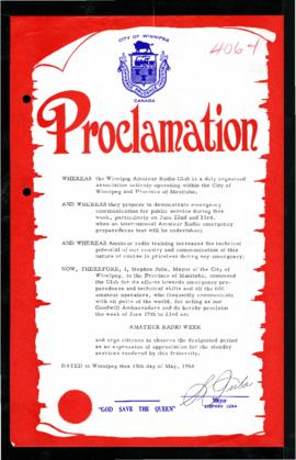 Proclamation - Amateur Radio Week