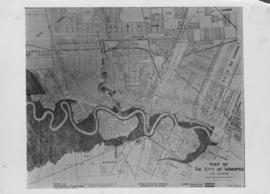 No. 1 Plan of City of Winnipeg and environs showing flooded areas, amounting to approx. fifteen p...