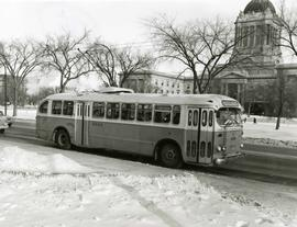 Trolley bus bound for Corydon Avenue in front of the Legislature Building