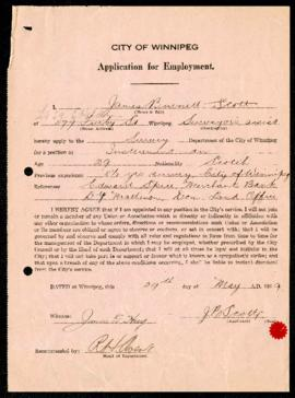 Employment Application of James Burnett Scott to Survey Department