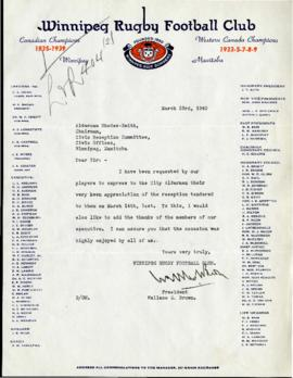 Letter from Winnipeg Rugby Football Club to Chairman of the Civic Reception Committee