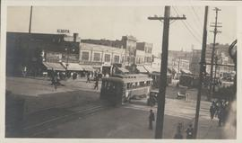 View of Main Street south from Higgins showing Alberta Hotel