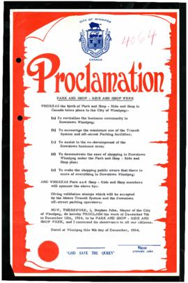 Proclamation - Park and Shop - Ride and Shop Week
