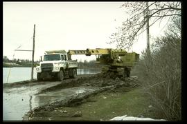 1997 flood - Cloutier Drive - removing earthen dike