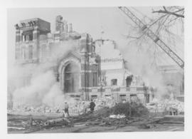 Demolition of Winnipeg City Hall, Demolition workers by debris pile