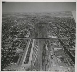 C.P.R. Yards looking West [Aerial view]
