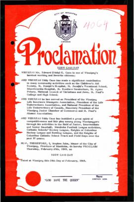 Proclamation - Eddy Cass Day