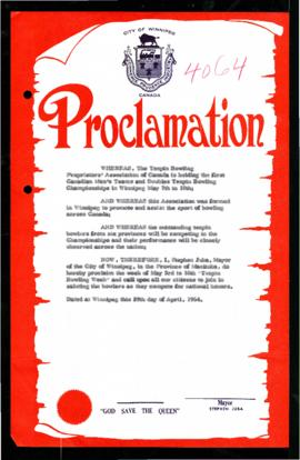 Proclamation - Tenpin Bowling Week