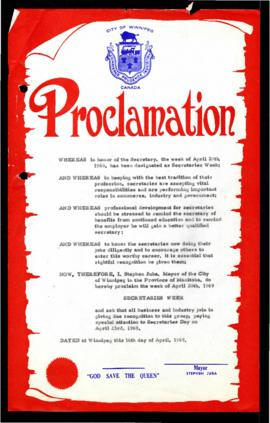 Proclamation - Secretaries Week