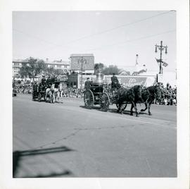 Winnipeg's 75th Anniversary parade - horse drawn fire engines