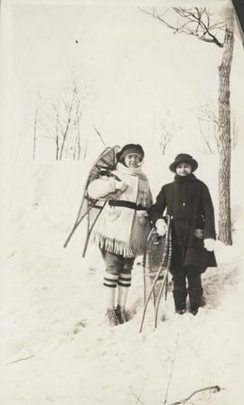 Elsie and Mabel with snowshoes