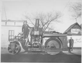 #7 - Roller, rolling hot asphalt, Dufferin, east of Arlington - 1947