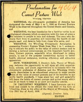 Proclamation for Correct Posture Week [Newspaper clipping]