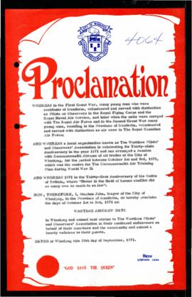 Proclamation - Wartime Aircrew Days