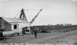 Backfilling over aqueduct with dragline
