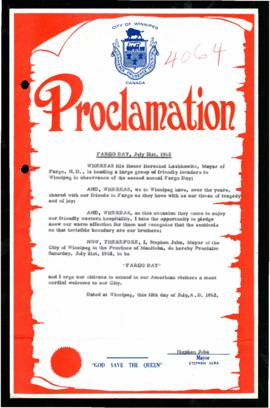 Proclamation - Fargo Day, July 21, 1962
