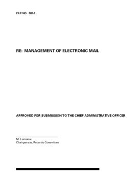 Report - Management of Electronic Mail