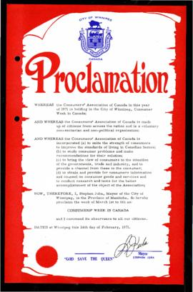 Proclamation - Consumers' Week in Canada