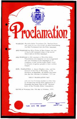 Proclamation - Bible Translation Day