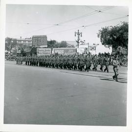 Winnipeg's 75th Anniversary parade - military men marching