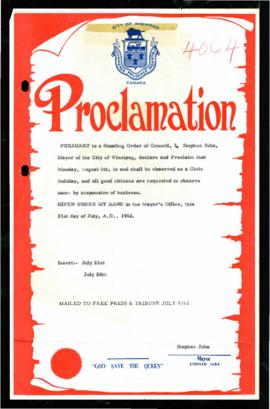 Proclamation - Civic Holiday