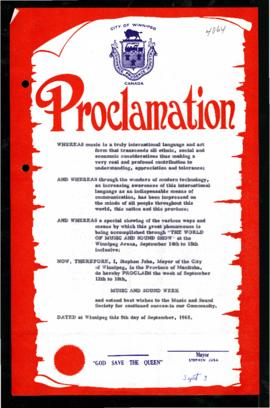 Proclamation - Music and Sound Week