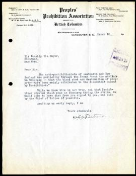 Peoples' Prohibition Association of British Columbia to Mayor Gray regarding the General Strike
