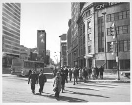 Looking west on Portage Avenue prior to the opening of the Portage and Main underground pedestrian concourse on February 23, 1979