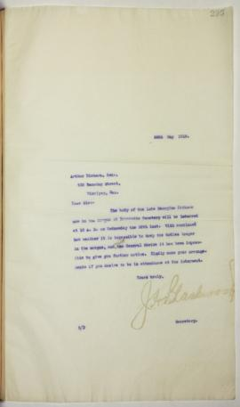 J.H. Blackwood to Arthur Dickson regarding the General Strike's effect on body interment