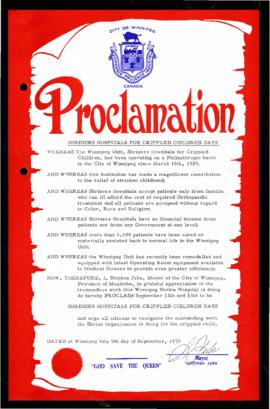 Proclamation - Shriners Hospitals for Crippled Children Days