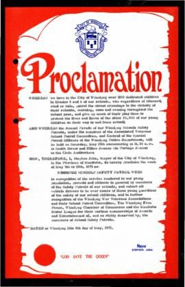 Proclamation - Winnipeg Schools Safety Patrol Week