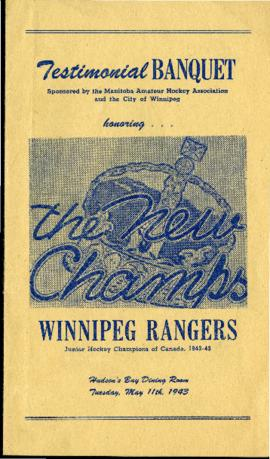 Program - Testimonial Banquet, Winnipeg Rangers