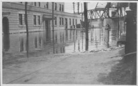Foot of Water Street, C.N.R. Bridge - the Flood