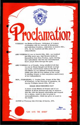 Proclamation - Greek Independence Day