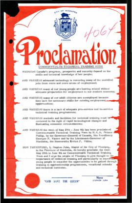 Proclamation - Commonwealth Technical Training Week