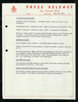 Press Release - May 2, 1961 Branch Updates