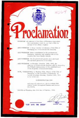 Proclamation - Czechoslovak Day