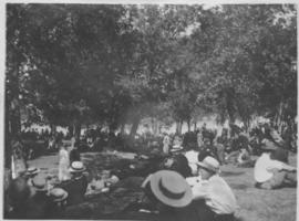 Crowd listening to Sunday band concerts, City Park