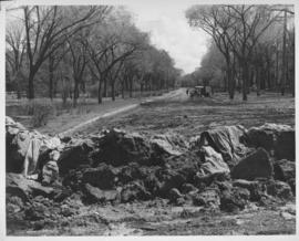 Clay dyke built to stop flooding in the vicinity of Shaarey Zedek Synagogue, 1950 Flood
