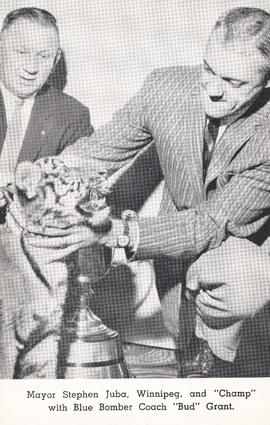 "Mayor Stephen Juba, Winnipeg, and ""Champ"" with Blue Bomber Coach ""Bud"" Grant"